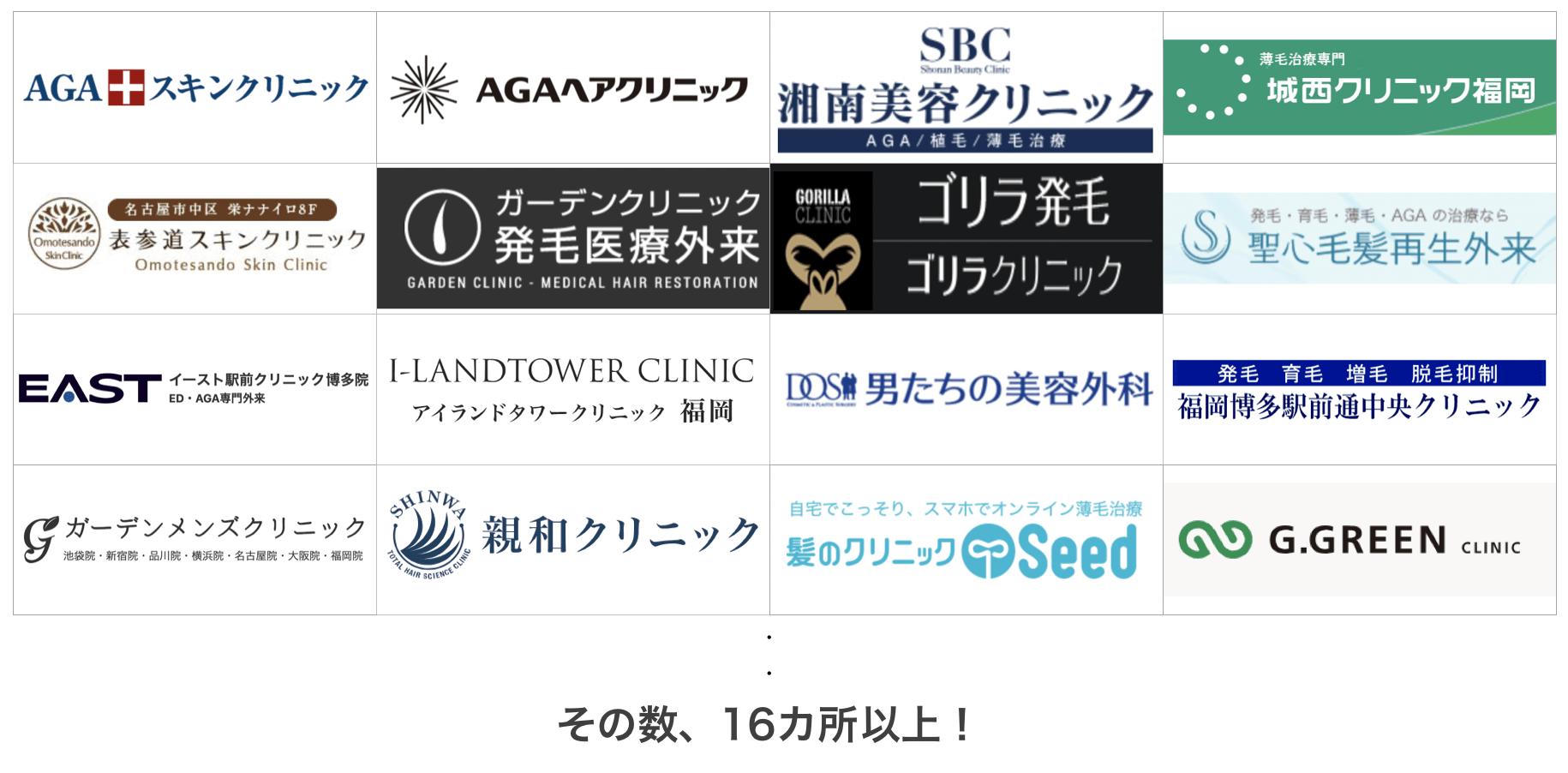 福岡の薄毛治療クリニック16ヶ所を比較